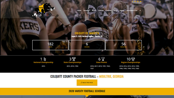 image of colquitt-county-packer-football-website-featured-project-desktop-view-2020-georgia-web-development