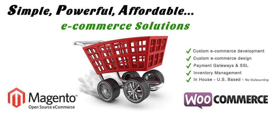 image of ecommerce software solutions provider shopping cart orange magento logo woocommerce purple logo georgia web development