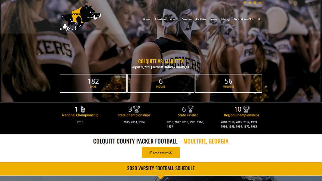 image of colquitt-county-packer-football-website-featured-project-desktop-view-2020-georgia-web-development