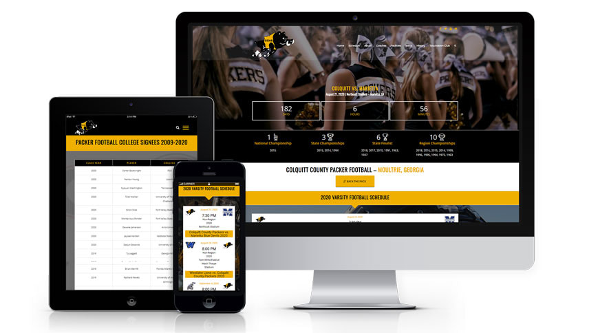 image of colquitt-county-packer-football-website-featured-project-2020-georgia-web-development