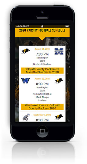 image of colquitt-county-packer-football-website-featured-project-mobile-view-2020-georgia-web-development
